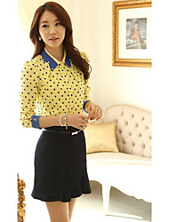 Women's Turtle Neck Korean Cultivating Polka Dot Chiffon Blouse Translation