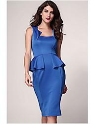 Женская Аби шея Деталь рукавов Midi платье