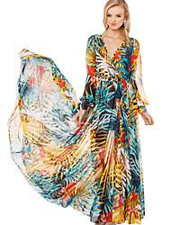 mode bali cou en mousseline de soie à manches longues v imprimé floral cheville robe de swing de longueur