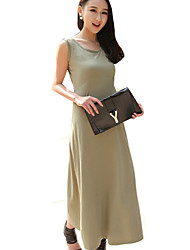 Women's Round Neck Bodycon Solid Color Dress