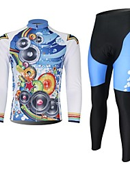XINTOWN Men's Cool Music Quick Dry Moisture Absorption Long Sleeve Cycling Suit—White+Blue