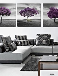 Stretched Canvas Print Art Landscape Purple Trees Set of 3