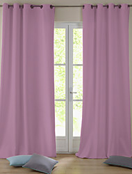 Modern One Panel Solid Pink Living Room Polyester Blackout Curtains Drapes