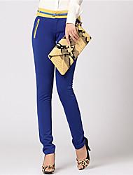 pantalones de las mujeres zyqy elegantes flacas largas (Azules)