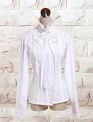 cinta de manga larga de algodón blanco lolita blusa clásica