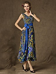 Women's Bohemian Vintage  Floral Print Fitted Dress with Belt