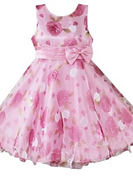 Girl's Pink Flower Print Multi-layers Bow Party Wedding Pageant Bridesmaid Princess Lovely Dresses