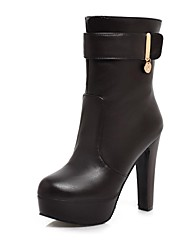 Women's Spring / Winter Round Toe / Fashion Boots Leatherette Dress Chunky Heel Black / Brown / White