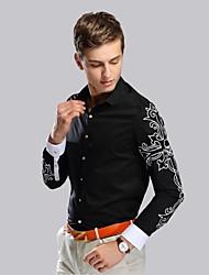 Men's British Printing Business Long Sleeved Shirt