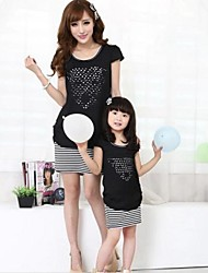 Family's Fashion Leisure Mother Daughter Stripe Chiffon Dress