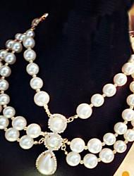 Dk&Y European Multi-Layer Pearl Rhinestone Vintage Necklace
