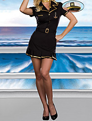 Hot Girl Black Spandex Lycra Dress Pilot Uniform Naval Uniform