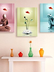 Stretched Canvas Art Buddha And Lotus Decoration  Set of 3