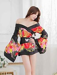 Women's Sexy Japanese Kimono Cherry Printing NIghtwear