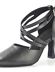 Women's Dance Shoes Modern Leather Chunky Heel Black