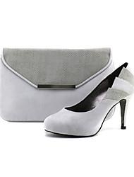 Damenschuhe geschlossen Zehe stelitto Ferse Satin pumpt Schuhe passenden Satin-Handtasche
