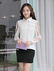 Women's Lace White Shirt , Shirt Collar Long Sleeve Lace
