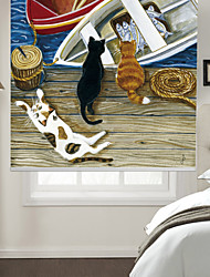 Oil Painting Style Cats & Boats Roller Shade