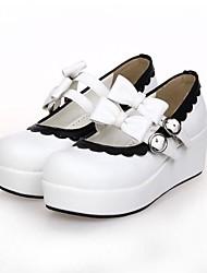blanco cuero de la PU 5 plataforma .5cm zapatos dulce lolita