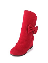 botas de los zapatos de las mujeres del dedo del pie redondo de tacón de cuña media pierna más colores disponibles