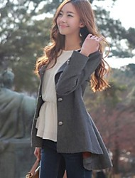 Women's Solid Color Tweed  Long Pleated Coat
