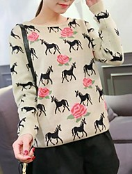 Women's Pony Jacquard Weave Overpull Knit Sweaters