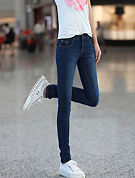 Women's Simplicity Elasticity Skinny Washed Pencil Jeans