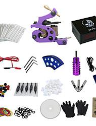 1 Gun Complete No Ink Tattoo Kit with Purple Tatoo Machine and Skull Pattern Black Power