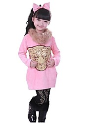 Girl's Fashion Lovely Panther Avoid Fur Collar Long Sleeve T Shirt