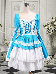 Long Sleeve Short Sky Blue Cotton Sweet Lolita Dress