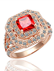 MELES's Shining Ruby Zircon Crystal Ring