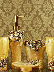 5 Piece Bath Collection Set Resin Material Yellow Color, Bath Ensemble,Bath Accessory Set