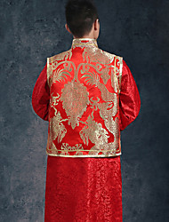 Sheath / Column Wedding Dress Vintage Inspired Floor-length High Neck with Button