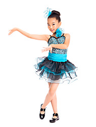 Kids' Dancewear Dresses Children's Training Spandex Sequined Tulle Sequins Sleeveless Natural
