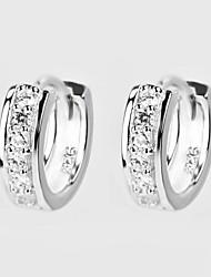 Ohrring Kreolen Schmuck Geburtssteine Alltag / Normal Sterling Silber / Zirkon Damen Silber