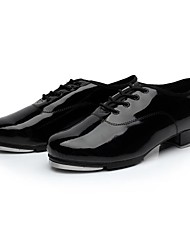 Men's Tap Patent Leather Split Sole Lace-up Low Heel Black Under 1""