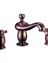 Widespread Two Handles Three Holes in Rose Gold Bathroom Sink Faucet