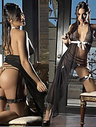 Seductive Lady Backless Black Chiffon Women's Lingeries Sexy Uniform