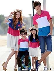 Family's Fashion Joker Leisure Parent Child Short Sleeve Three Color Chiffon T Shirt And Dress