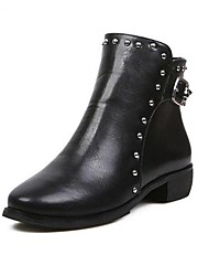Women's Shoes Fashion Round Toe Low Heel Ankle Boots with Rivet and Zipper Shoes More Colors available