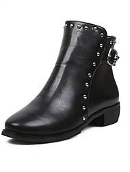 Zapatos de mujer - Tacón Bajo - Punta Redonda / Botas a la Moda - Botas - Vestido - Cuero Sintético - Negro / Rojo