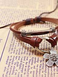 Women's  Lucky Flower Beaded Leather Bracelet