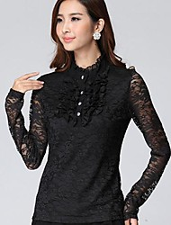 Women's Stand Collar Petals Lace Show Thin Shirt