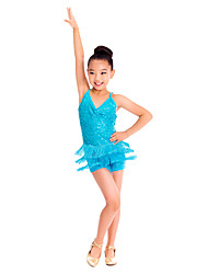 Latin Dance Dresses Women's Children's Training Spandex Sequined Tassel(s) Sequins Sleeveless Natural
