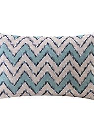 bleu zigzag coton / lin taie d'oreiller décoratif