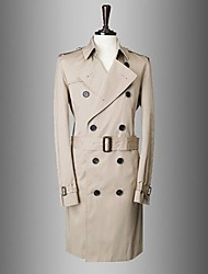Men's Lapel Collar Slim Double-Breasted Trench Coat