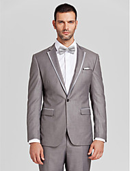 Gray Polyester Tailored Fit Two-Piece Tuxedo