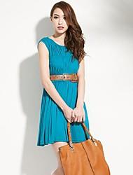 joannekitten delicados cintura fina das mulheres de camadas múltiplas plissado vestido cheio