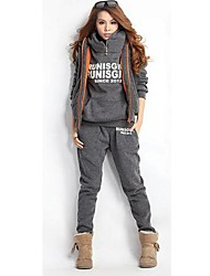 Women's Letter Grey/Red/Blue Suits,Casual Hooded Long Sleeve Zipper