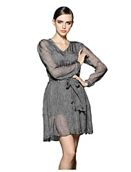 Women's Party/Cocktail Sexy Dress,Solid Above Knee Long Sleeve Gray Silk Spring / Fall